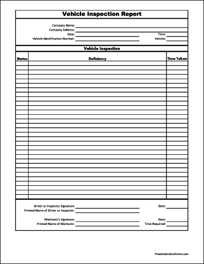 Free Basic Vehicle Inspection Report
