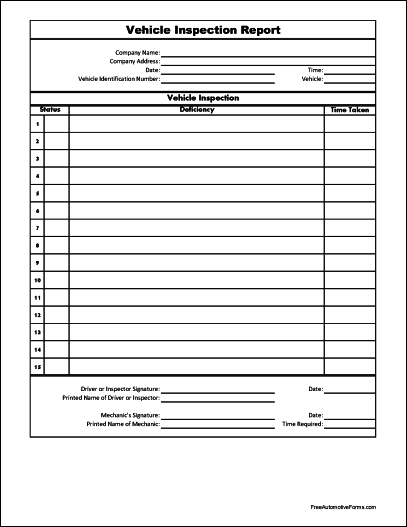 vehicle inspection form pdf