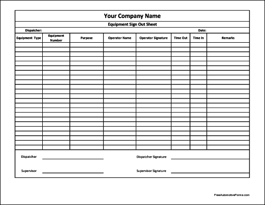 Free Personalized Equipment Sign Out Sheet (Supervisor Signature)