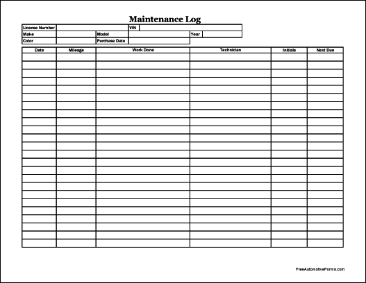 Free Easy-Copy Detailed Automotive Maintenance Log (Wide)